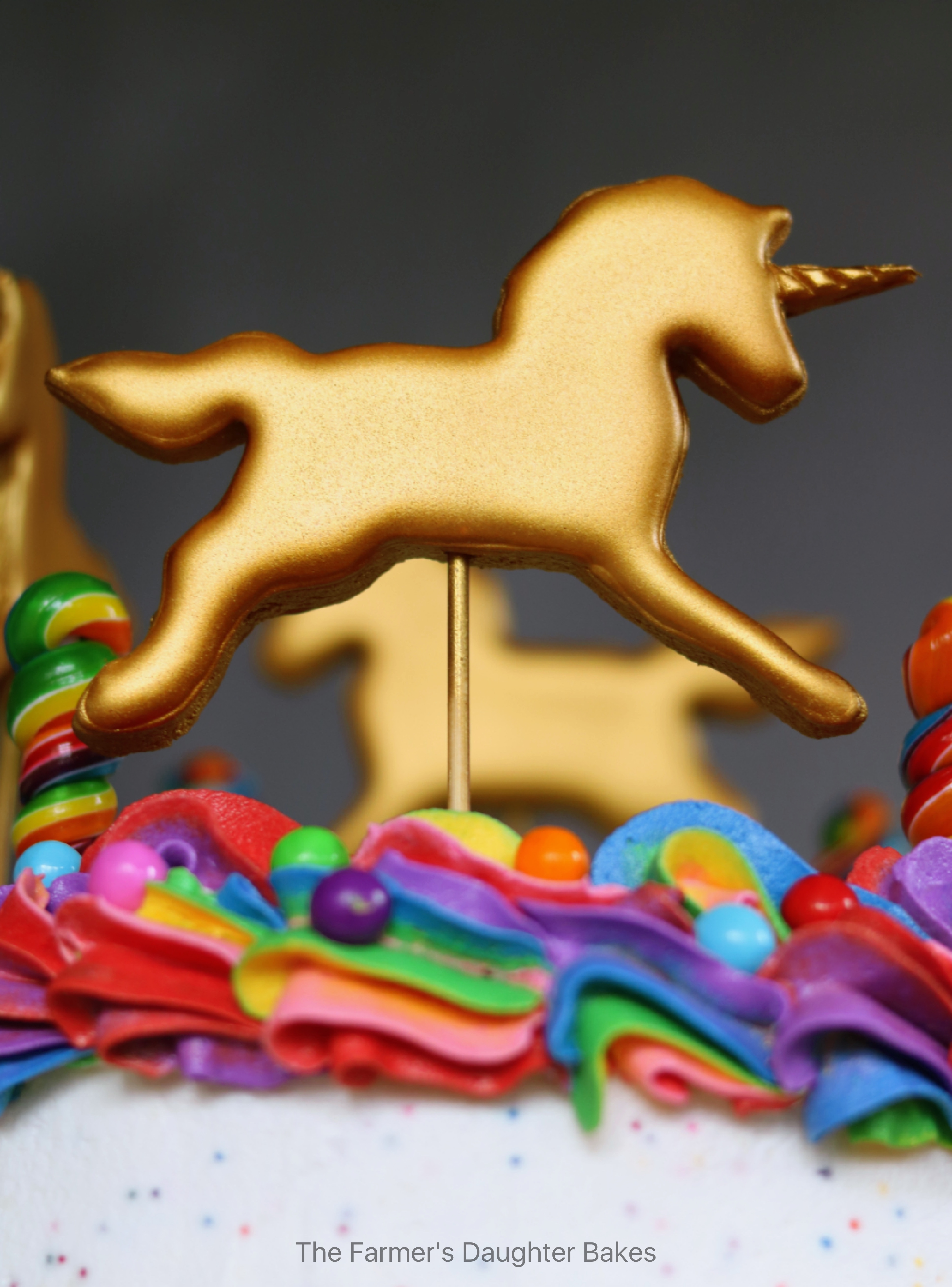 cookies, cookie, cake topper, unicorn, unicorn cake topper, rainbow, gold, gold cookie, gold unicorn