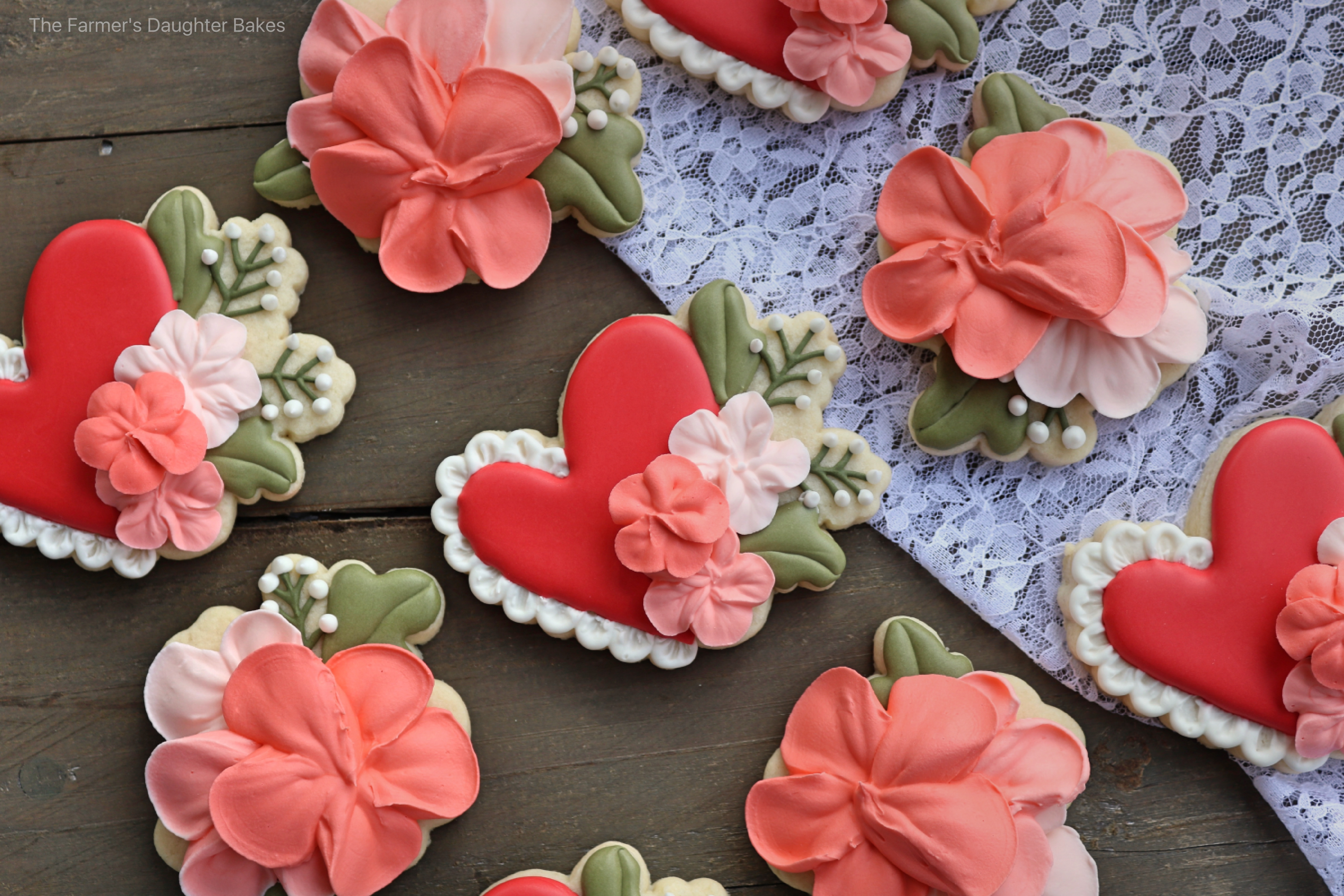 valentine, hearts, heart cookies, floral, floral cookies, floral heart cookies